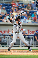 Biloxi Shuckers outfielder Michael Reed (17) at bat during the second game of a double header against the Pensacola Blue Wahoos on April 26, 2015 at Pensacola Bayfront Stadium in Pensacola, Florida.  Pensacola defeated Biloxi 2-1.  (Mike Janes/Four Seam Images)