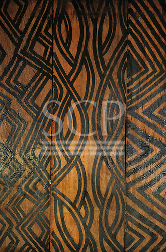 Xingu River, Brazil. Typical Assurini design on wooden panel in the Tataquara jungle lodge hotel.