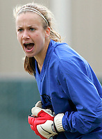 Stanford goalkeeper Erica Holland yells to her defenders on a USC corner kick. Stanford defeated USC 2-0 in second round action of the NCAA tournament at Buck Shaw Stadium, Santa Clara University, Santa Clara, CA on November 12, 2006.