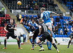 St Johnstone v Motherwell…07.04.18…  McDiarmid Park    SPFL<br />Denny Johnstone's header is saved by Trevor Carson<br />Picture by Graeme Hart. <br />Copyright Perthshire Picture Agency<br />Tel: 01738 623350  Mobile: 07990 594431
