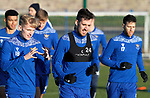 St Johnstone Training….Callum Booth pictured with Alic McCann during training at McDiarmid Park ahead of Sundays game against Celtic.<br />