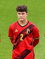 Kyriani Sabbe (2) of Belgium pictured in action during a soccer game between the national teams Under17 Youth teams of  Norway and Belgium on day 3 in the Qualifying round in group 3 on Tuesday 12 th of October 2020  in Tubize , Belgium . PHOTO SPORTPIX | DAVID CATRY