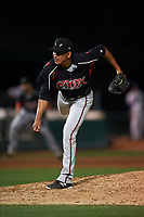 Lake Elsinore Storm relief pitcher Diomar Lopez (34) follows through on his delivery during a California League game against the Rancho Cucamonga Quakes at LoanMart Field on May 19, 2018 in Rancho Cucamonga, California. Lake Elsinore defeated Rancho Cucamonga 10-7. (Zachary Lucy/Four Seam Images)