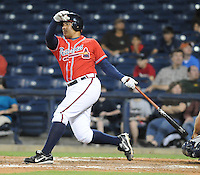 10 April 2008: Infielder Kala Ka'aihue (20) of the Mississippi Braves, Class AA affiliate of the Atlanta Braves, in a game against the Mobile BayBears at Trustmark Park in Pearl, Miss. Photo by:  Tom Priddy/Four Seam Images