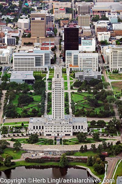 aerial photograph of the Louisiana State Capitol Building, Baton Rouge, Louisiana