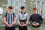 Adam Cronin, Michael Brosnan and Sean O'Sullivan who sat their Leaving Cert exam in St Brendans College on Monday morning