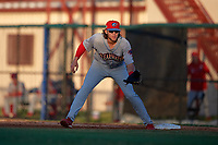 Clearwater Threshers first baseman Alec Bohm (40) during a Florida State League game against the Dunedin Blue Jays on May 11, 2019 at Jack Russell Memorial Stadium in Clearwater, Florida.  Clearwater defeated Dunedin 9-3.  (Mike Janes/Four Seam Images)