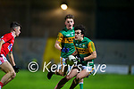 Paudie O'Leary, Kerry in action against Sean Walsh, Cork  during the Munster Minor Semi-Final between Kerry and Cork in Austin Stack Park on Tuesday evening.