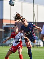 Amber Tysiak (3) of OH Leuven and Charlotte Laridon (9) of Zulte Waregem  pictured during a female soccer game between SV Zulte - Waregem and Oud Heverlee Leuven on the sixth matchday of the 2021 - 2022 season of Belgian Scooore Womens Super League , saturday 9 of October 2021  in Zulte , Belgium . PHOTO SPORTPIX | DIRK VUYLSTEKE