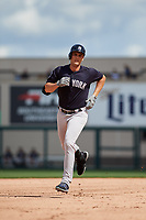 New York Yankees designated hitter Greg Bird (33) rounds the bases after hitting a home run in the top of the first inning a Grapefruit League Spring Training game against the Detroit Tigers on February 27, 2019 at Publix Field at Joker Marchant Stadium in Lakeland, Florida.  Yankees defeated the Tigers 10-4 as the game was called after the sixth inning due to rain.  (Mike Janes/Four Seam Images)
