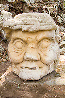 Carved sculptures of Stone at the Fabulous Maya ruins of Mayan Civilization in Copan Hondura