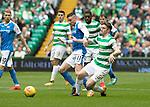 Celtic v St Johnstone …26.08.17… Celtic Park… SPFL<br />Michael O'Halloran tackles Tony Ralston<br />Picture by Graeme Hart.<br />Copyright Perthshire Picture Agency<br />Tel: 01738 623350  Mobile: 07990 594431