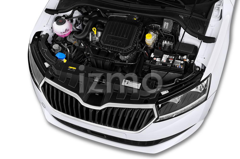 Car Stock 2018 Skoda Fabia Ambition 5 Door Hatchback Engine  high angle detail view