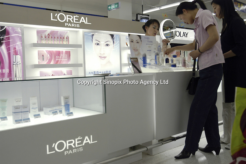 L'OREAL cosmetics in the first supercenter of Wal-Mart in Beijing, China..18 May 2005