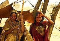 - northern Sudan, women of a nomads tribe in the Libyan desert....- Sudan settentrionale, donne di una tribù nomade del deserto di Libia..