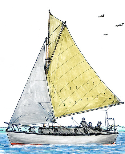 And it all started with a little cruise to Spain…..The 26ft Calabar, which Ed Wheeler cruised along the Australian coast from Sydney to Darwin in 1971. Illustration by Pete Adams