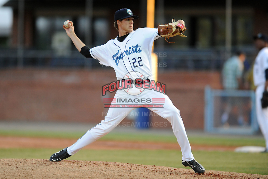 Asheville Tourists starting pitcher Ben Alsup #22 delivers a pitch during a game between the West Virginia Power and the Asheville Tourists at McCormick Field, Asheville, North Carolina April 9, 2012. The Tourists won 13-5  8-4  (Tony Farlow/Four Seam Images)..