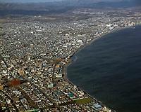 aerial photograph of Hakodate shoreline, Hokkaido, Japan