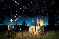 A Flagstaff, Arizona family spends an evening stargazing with their telescope.