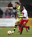 Anthony Grant of Stevenage battles with James Hayter of Yeovil. Stevenage v Yeovil Town- npower League 1 -  Lamex Stadium, Stevenage - 13th April, 2013. © Kevin Coleman 2013.. . . . .. . . .  . . .  .