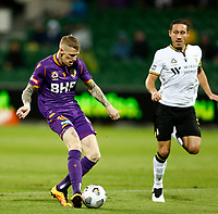 23rd May 2021; HBF Park, Perth, Western Australia, Australia; A League Football, Perth Glory versus Macarthur; Andy Keogh of Perth Glory shoots and scores in the 3rd minute only to be called offside