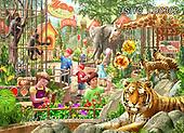 Liz,LANDSCAPES, LANDSCHAFTEN, PAISAJES, LizDillon,zoo,children, paintings+++++,USHCLD0302,#L#, EVERYDAY ,puzzle,puzzles