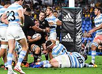12th September 2021; Cbus Super Stadium, Robina, Queensland, Australia; Rugby International series, New Zealand versus Argentina:  Ethan Blackadder celebrates as he scores a try.