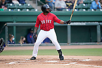 Tyreque Reed (38) of the Greenville Drive during a game against the Brooklyn Cyclones on Friday, May 14, 2021, at Fluor Field at the West End in Greenville, South Carolina. (Tom Priddy/Four Seam Images)