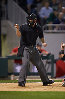 Home plate umpire Drew Maher makes a strike call during the NCAA baseball game between the Georgia Bulldogs and the Charlotte 49ers at BB&T Ballpark on March 8, 2016 in Charlotte, North Carolina. The 49ers defeated the Bulldogs 15-4. (Brian Westerholt/Four Seam Images)