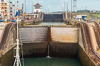 Panama Canal, Panama.  Entering First Lock, Caribbean Side, Heading toward Lake Gatun.