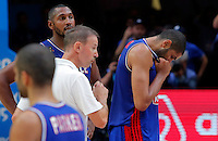 France's national basketball team players Boris Diaw and Nicolas Batum and head coach Vincent Collet reacts after European championship semi-final basketball match between France and Spain on September 17, 2015 in Lille, France  (credit image & photo: Pedja Milosavljevic / STARSPORT)