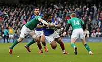 Sunday10th March 2019 | Ireland vs France<br /> <br /> Mathieu Bastareaud on the attack is tackled by Peter O'Mahony during the Guinness 6 Nations clash between Ireland and France at the Aviva Stadium, Lansdowne Road, Dublin, Ireland. Photo by John Dickson / DICKSONDIGITAL