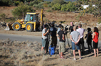 Pictured: Detective Inspector Jon Cousins of South Yorkshire Police briefs the media at the start of day 14 of the search at the new site in Kos, Greece. Sunday 09 October 2016<br />Re: Police teams led by South Yorkshire Police, searching for missing toddler Ben Needham on the Greek island of Kos have moved to a new area in the field they are searching.<br />Ben, from Sheffield, was 21 months old when he disappeared on 24 July 1991 during a family holiday.<br />Digging has begun at a new site after a fresh line of inquiry suggested he could have been crushed by a digger.