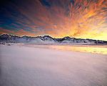 Sunset over eastern Sierra peaks and lake, Mono County, near Mammoth Lakes, California