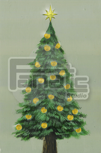 Illustrative image of Christmas tree decorated with gold coins representing profit