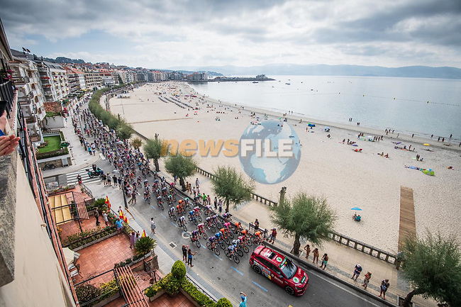The start of Stage 20 of La Vuelta d'Espana 2021, running 202.2km from Sanxenxo to Mos, Spain. 4th September 2021.    <br /> Picture: Charly Lopez/Unipublic | Cyclefile<br /> <br /> All photos usage must carry mandatory copyright credit (© Cyclefile | Unipublic/Charly Lopez)