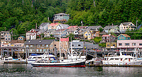 Waiting for her next job, the Carole B is framed by the colorful homes that overlook the harbor in Ketchikan, AK.
