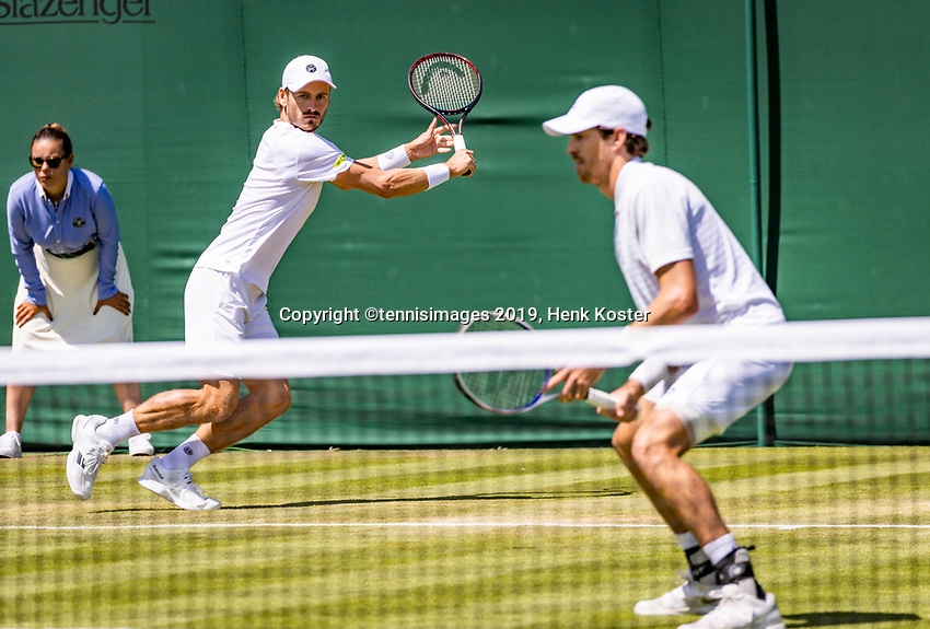London, England, 4 July, 2019, Tennis,  Wimbledon, Mens doubles: Marcus Daniell (NZL) and Wesley Koolhof (NED) (L)<br /> Photo: Henk Koster/tennisimages.com