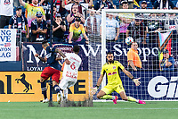 FOXBOROUGH, MA - JUNE 23: Gustavo Bou #7 of New England Revolution scores during a game between New York Red Bulls and New England Revolution at Gillette Stadium on June 23, 2021 in Foxborough, Massachusetts.