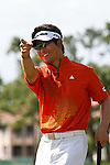 PALM BEACH GARDENS, FL. - Y.E. Yang points to the gallery after a birdie on hole 8 to go 10 under par during final round play at the 2009 Honda Classic - PGA National Resort and Spa in Palm Beach Gardens, FL. on March 8, 2009.
