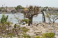 SENEGAL, Island Fadiouth, mixed cemetery for muslims and christians / Insel Fadiouth, christlicher und muslimischer Friedhof, Moschee und Kirche