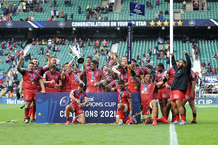 Toulouse celebrates winning the Heineken Champions Cup Final match between La Rochelle and Toulouse at Twickenham Stadium on Saturday 22 May 2021 (Photo by Rob Munro/Stewart Communications)