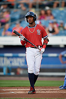 Syracuse Chiefs center fielder Victor Robles (16) at bat during a game against the Buffalo Bisons on September 2, 2018 at NBT Bank Stadium in Syracuse, New York.  Syracuse defeated Buffalo 4-3.  (Mike Janes/Four Seam Images)