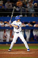 Florida Gators shortstop Brady McConnell (4) at bat during a game against the Siena Saints on February 16, 2018 at Alfred A. McKethan Stadium in Gainesville, Florida.  Florida defeated Siena 7-1.  (Mike Janes/Four Seam Images)