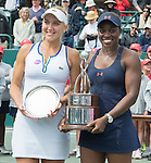 April  10, 2016:  Sloane Stephens (USA) (right) wins the final, a trophy, and a car against Elena Vesnina (RUS) 7-6, 6-2, at the Volvo Car Open being played at Family Circle Tennis Center in Charleston, South Carolina.  ©Leslie Billman/Tennisclix/Cal Sport Media