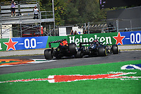 12th September, September 2021; Nationale di Monza, Monza, Italy; FIA Formula 1 Grand Prix of Italy, Crash of 33 VERSTAPPEN Max (nld) Red Bull Racing Honda RB16B and 44 HAMILTON Lewis (gbr) Mercedes AMG F1 GP W12 E Performance during the Formula 1 Heineken Italian Grand Prix