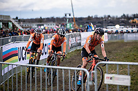 the dutch armada; Annemarie Worst (NED), Ceylin Del Carmen Alvarado (NED) and Lucinda Brand (NED) made it a very exciting race. <br /> <br /> Women's Elite Race<br /> UCI 2020 Cyclocross World Championships<br /> Dübendorf / Switzerland<br /> <br /> ©kramon