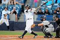 Tampa Yankees second baseman Angelo Gumbs #13 at bat in front of catcher Zach Maggard and umpire Rich Gonzalez during a game against the Lakeland Flying Tigers at Steinbrenner Field on April 6, 2013 in Tampa, Florida.  Lakeland defeated Tampa 8-3.  (Mike Janes/Four Seam Images)