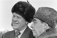 President Gerald R. Ford with Soviet General Secretary Leonid Brezhnev upon Ford's arrival at Vozdvizhenka Airport, Vladivostok, U.S.S.R.  23 November 1974