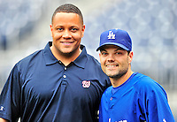 24 April 2010: Los Angeles Dodgers' infielder Jamey Carroll poses with Washington Nationals' director of travel Rob McDonald prior to a game at Nationals Park in Washington, DC. The Dodgers edged out the Nationals 4-3 in a thirteen inning game. Mandatory Credit: Ed Wolfstein Photo